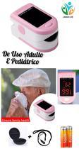 Oxímetro de Uso Pediátrico e Adulto Dedo/Pulso com Estojo Anti-Queda + Pilhas - Firgetip Pulse Oximeter