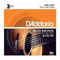 Pack 3 Encordoamentos Violão Aço .010 Daddario 80/20 EJ10 3D -