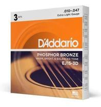 Pack 3 Unidades De Cordas Daddario Violão 010 Phosphor Bronze - D'Addario