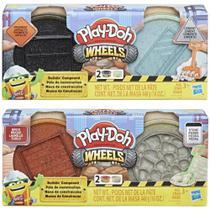 Pack Play Doh Wheels Massa de Construção Cimento e Asfalto + Pedra e Tijolo E4508 - Hasbro -