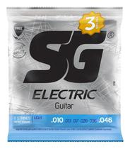 Pacote Com 03 Encordoamento Para Guitarra SG 010 Light -