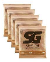 Pacote Com 05 Cordas Para Violão Nylon Média SG Com Bolinha -