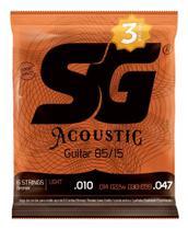 Pacote Com 3 Encordoamento Para Violão Aço SG 010 85/15 -
