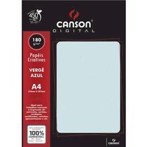 Pacote Com 50 Folhas Verge Azul 180g Canson -