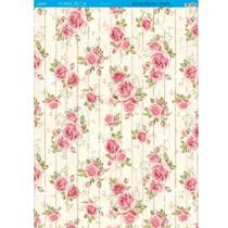 Página para Scrapbook Decor Duplo Gigante Litoarte 46,3 x 62,3 cm - Modelo SDG-001 Rosas Dundo de Madeira -