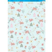 Página para Scrapbook Decor Duplo Gigante Litoarte 46,3 x 62,3 cm - Modelo SDG-029 Flores Gaiolas e Arabescos -