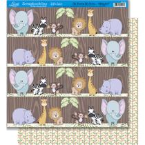 Página para Scrapbook Dupla Face Festa Litoarte 30,5 x 30,5 cm - Modelo SD-275 Safari Masculino/Trapadeira Fundo Bege -