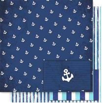 Página para Scrapbook Dupla Face Litoarte 30,5 x 30,5 cm - Modelo SD-022 Azul com Ancoras Brancas -