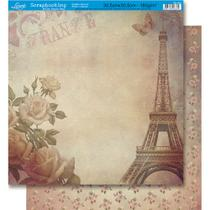 Página para Scrapbook Dupla Face Litoarte 30,5 x 30,5 cm - Modelo SD-060 Torre Eiffel Feminino -