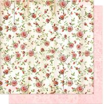 Página para Scrapbook Dupla Face Litoarte 30,5 x 30,5 cm - Modelo SD-094 Padrão Flores -