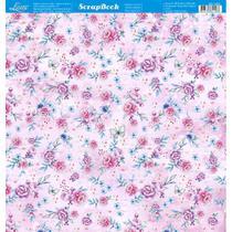 Página para Scrapbook Dupla Face Litoarte 30,5 x 30,5 cm - Modelo SD-1023 Flores Borboletas -
