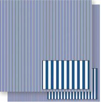 Página para Scrapbook Dupla Face Litoarte 30,5 x 30,5 cm - Modelo SD-190 Listrado Azul Escuro -
