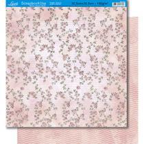 Página para Scrapbook Dupla Face Litoarte 30,5 x 30,5 cm - Modelo SD-325 Rosas Vintage/Listras Onduladas -