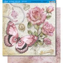 Página para Scrapbook Dupla Face Litoarte 30,5 x 30,5 cm - Modelo SD-349 Borboletas e Rosas Vintage -