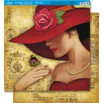Página para Scrapbook Dupla Face Litoarte 30,5 x 30,5 cm - Modelo SD-351 dama Chapéu Vermelho/Paris -