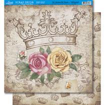 Página para Scrapbook Dupla Face Litoarte 30,5 x 30,5 cm - Modelo SD-359 Coroa e Rosas/Coroas -