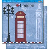 Página para Scrapbook Dupla Face Litoarte 30,5 x 30,5 cm - Modelo SD-360 Londres -