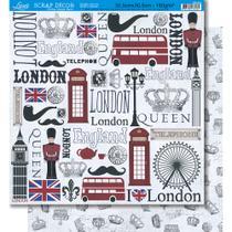 Página para Scrapbook Dupla Face Litoarte 30,5 x 30,5 cm - Modelo SD-361 Elementos Londres -