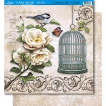 Página para Scrapbook Dupla Face Litoarte 30,5 x 30,5 cm - Modelo SD-371 Peônias, Pássaros e Gaiola/Arabesco -