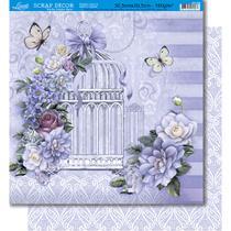 Página para Scrapbook Dupla Face Litoarte 30,5 x 30,5 cm - Modelo SD-382 Gaiola Branca com Flores e Renda -