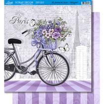 Página para Scrapbook Dupla Face Litoarte 30,5 x 30,5 cm - Modelo SD-384 Bicicleta com Flores Paris  e Listras com Arabesco -