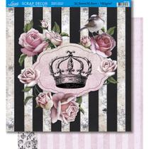 Página para Scrapbook Dupla Face Litoarte 30,5 x 30,5 cm - Modelo SD-385 Rosas com Tag e listras com Tarjas e Arabesco -
