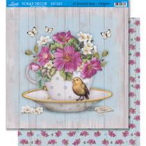 Página para Scrapbook Dupla Face Litoarte 30,5 x 30,5 cm - Modelo SD-399 Chá fundo Madeira -