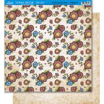 Página para Scrapbook Dupla Face Litoarte 30,5 x 30,5 cm - Modelo SD-404 Flores Folk -