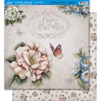 Página para Scrapbook Dupla Face Litoarte 30,5 x 30,5 cm - Modelo SD-425 Várias Flores/Flores Padrão -