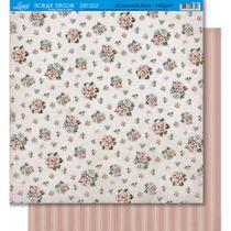 Página para Scrapbook Dupla Face Litoarte 30,5 x 30,5 cm - Modelo SD-426 Padrão Flores/Listras -