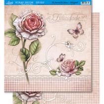 Página para Scrapbook Dupla Face Litoarte 30,5 x 30,5 cm - Modelo SD-431 flores e Borboleta/ Flor e Padrão -