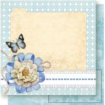Página para Scrapbook Dupla Face Litoarte 30,5 x 30,5 cm - Modelo SD-468 Flor Branca e Borboleta -