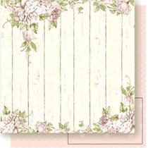 Página para Scrapbook Dupla Face Litoarte 30,5 x 30,5 cm - Modelo SD-471 Flores Claras Fundo de Madeira -