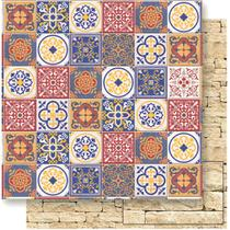 Página para Scrapbook Dupla Face Litoarte 30,5 x 30,5 cm - Modelo SD-524 Azulejos Coloridos -