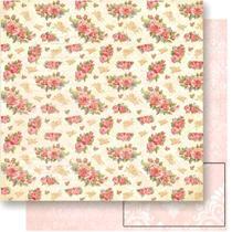 Página para Scrapbook Dupla Face Litoarte 30,5 x 30,5 cm - Modelo SD-530 Rosas e Letras -