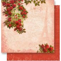 Página para Scrapbook Dupla Face Litoarte 30,5 x 30,5 cm - Modelo SD-542 Gaiola Dourada com Rosas -