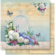 Página para Scrapbook Dupla Face Litoarte 30,5 x 30,5 cm - Modelo SD-548 Gaiola com Flores -