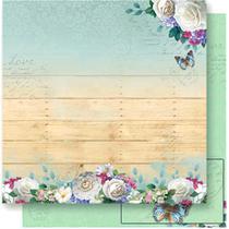 Página para Scrapbook Dupla Face Litoarte 30,5 x 30,5 cm - Modelo SD-549 Flores Fundo Madeira -