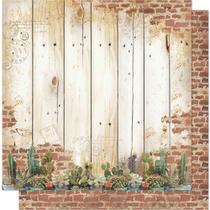 Página para Scrapbook Dupla Face Litoarte 30,5 x 30,5 cm - Modelo SD-561 Cactus e Madeira -