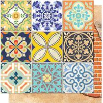Página para Scrapbook Dupla Face Litoarte 30,5 x 30,5 cm - Modelo SD-564 Azulejos e Tijolos -