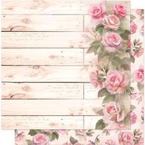 Página para Scrapbook Dupla Face Litoarte 30,5 x 30,5 cm - Modelo SD-585 Rosas em Madeira -