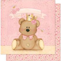 Página para Scrapbook Dupla Face Litoarte 30,5 x 30,5 cm - Modelo SD-602 Ursa com Coroa -