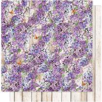 Página para Scrapbook Dupla Face Litoarte 30,5 x 30,5 cm - Modelo SD-607 Lavanda e Fundo Madeira -