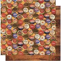 Página para Scrapbook Dupla Face Litoarte 30,5 x 30,5 cm - Modelo SD-617 Tampas de Cerveja -