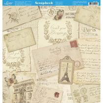 Página para Scrapbook Dupla Face Litoarte 30,5 x 30,5 cm - Modelo SD-700 Cartas Fundo com Arabescos -