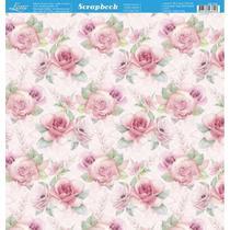 Página para Scrapbook Dupla Face Litoarte 30,5 x 30,5 cm - Modelo SD-742 Floral Cor de Rosa -
