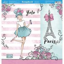 Página para Scrapbook Dupla Face Litoarte 30,5 x 30,5 cm - Modelo SD-751 Meninas Paris Aquarelada -