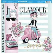 Página para Scrapbook Dupla Face Litoarte 30,5 x 30,5 cm - Modelo SD-752 Menina Vespa Aquarelada -