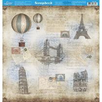 Página para Scrapbook Dupla Face Litoarte 30,5 x 30,5 cm - Modelo SD-761 Balão Paris Vintage -