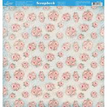 Página para Scrapbook Dupla Face Litoarte 30,5 x 30,5 cm - Modelo SD-773 Padrão de Rosas Fundo Azul -